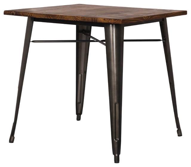 Grand metal square dining table industrial dining for Square industrial dining table