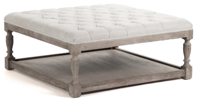 Beau Square Tufted Linen Limed Gray Elm Coffee Table Ottoman