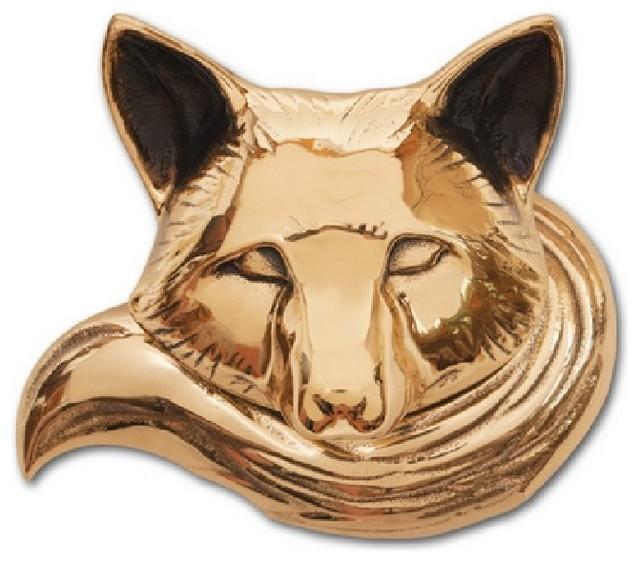 Fox Door Knocker, Brass, Premium Size