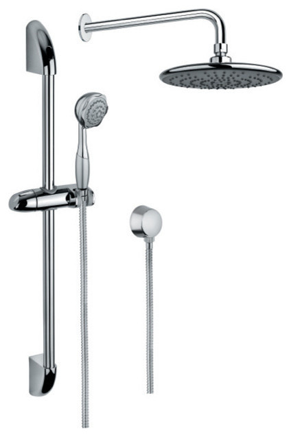 Chrome Shower System With Hand Shower With Sliding Rail, and Water Connection by Nameeks