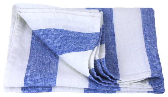 Linen Hand Towel Stonewashed White Light Blue Thick