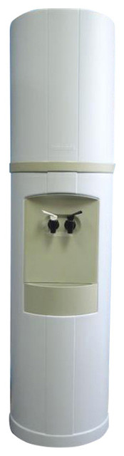 Fahrenheit Bottled Water Cooler, White With Green Tea Trim, Hot & Cold Water