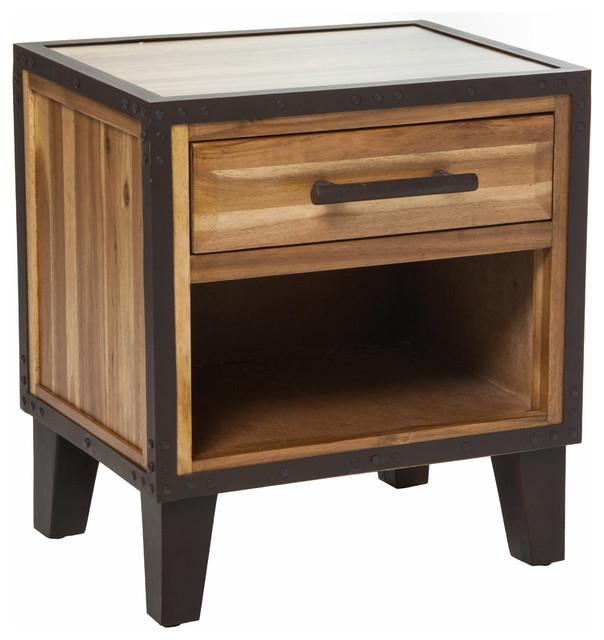 Glendora Solid Wood Single Drawer End Table Nightstand - Rustic - Nightstands And Bedside Tables ...