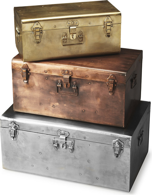 butler spirit iron storage trunk 3piece set