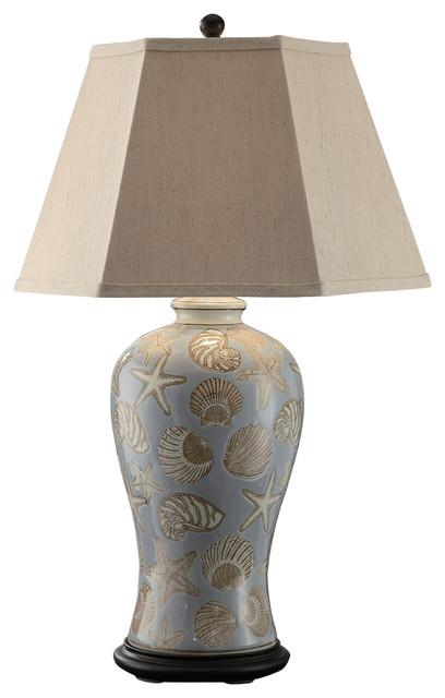 Seashell Table Lamp, Oatmeal Linen Shade Beach Style Table Lamps