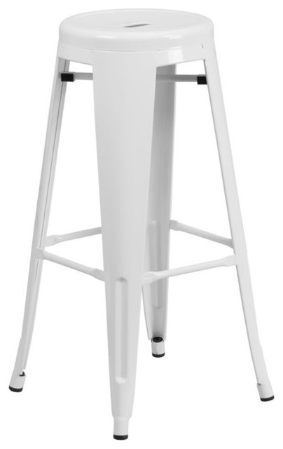 Super 30 High Backless White Metal Barstool With Round Seat Cjindustries Chair Design For Home Cjindustriesco