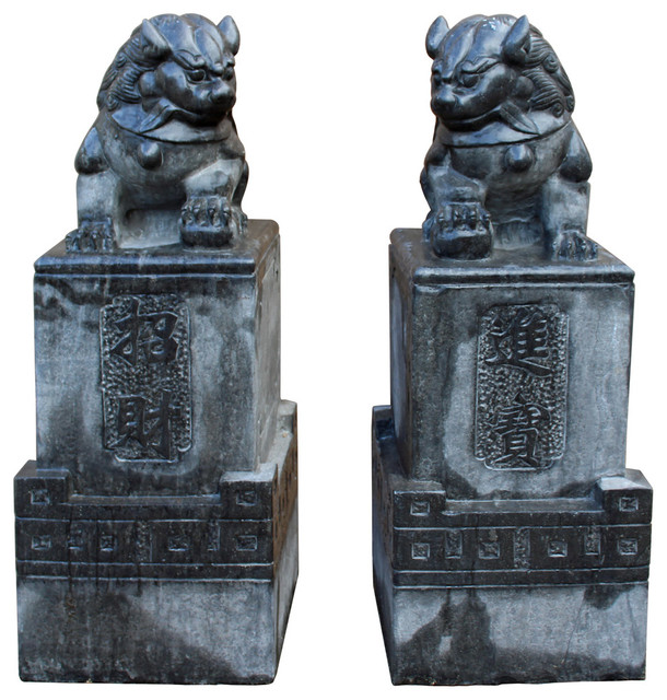 Chinese Black Gray Stone Fengshui Pedestal Foo Dog Statues Cs2394, 2 Piece  Set
