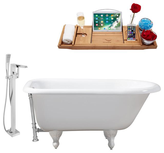 Streamline 66 Faucet/Cast Iron Tub Set, Chrome Popup Drain, Showerhead H-100 by Streamline