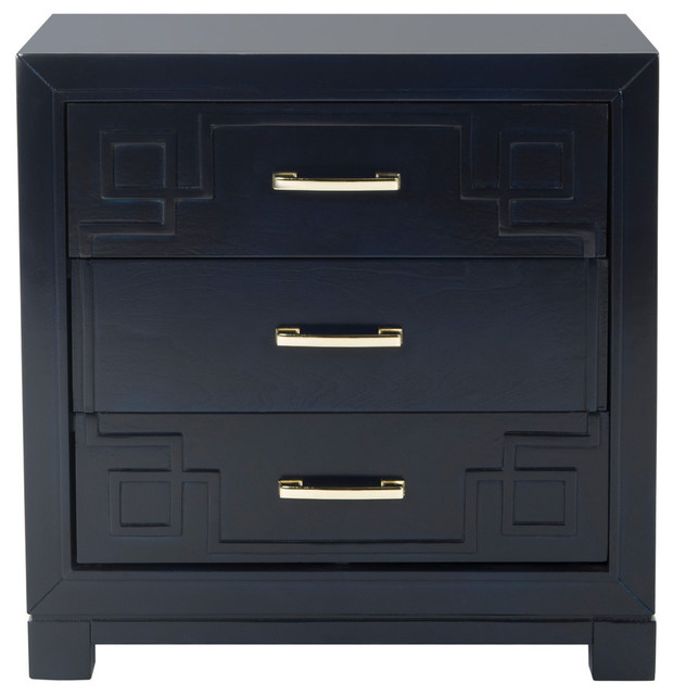 Turin Manor 3-Drawer Nightstand, Navy. -1