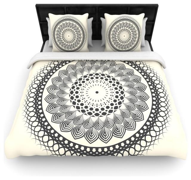 """Famenxt """"Black And White Boho Mandala"""" Geometric Duvet Cover, Twin, 68""""x88"""