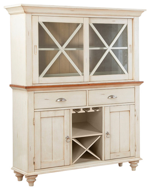 Liberty Ocean Isle Buffet With Hutch, Bisque With Natural Pine.