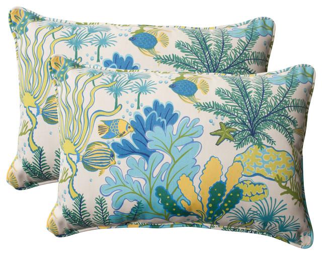 Blue Rectangle Throw Pillow : Splish Splash Blue Oversized Rectangle Throw Pillow, Set of 2 - Beach Style - Outdoor Cushions ...