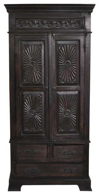 Lincoln Study Traditional Hand Carved, Solid Wood Black Armoire