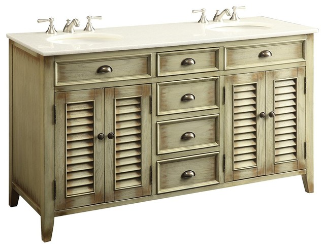 Modetti Palm Beach Double Sink Bathroom Vanity Cottage Beach Look Beige 60 Q