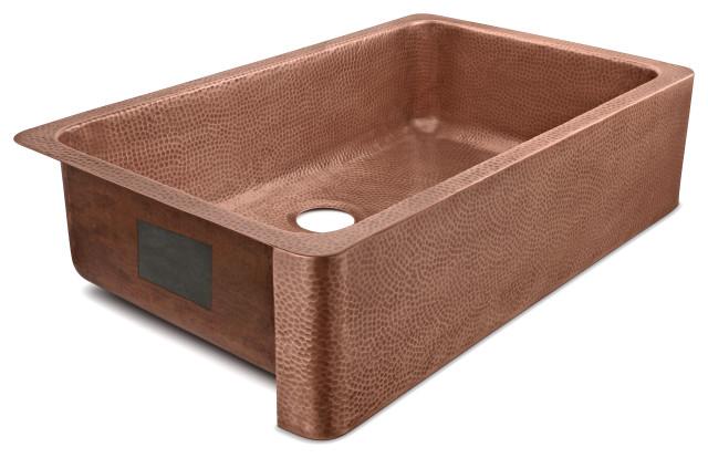 "Porter Farmhouse Apron-Front Handmade 36"" Single Bowl Sink, Antique Copper"