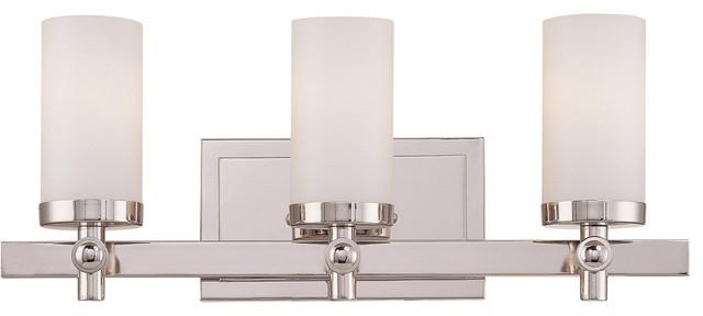 Manhattan 3-Light Bathroom Vanity Lights, Polished Nickel.