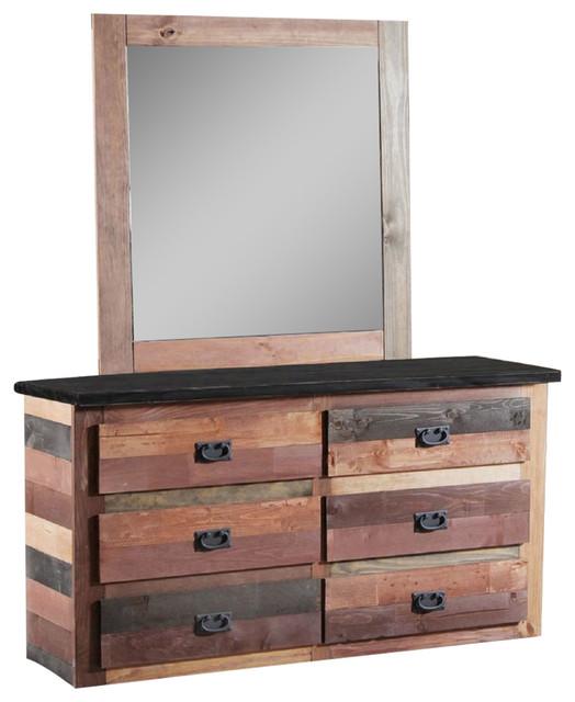 Linon Lattice Vanity Set Multiple Colors: 6-Drawer Dresser With Jumbo Mirror Multi-Color