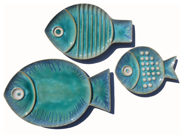 Fish Plates, Set Of 3, Blue.