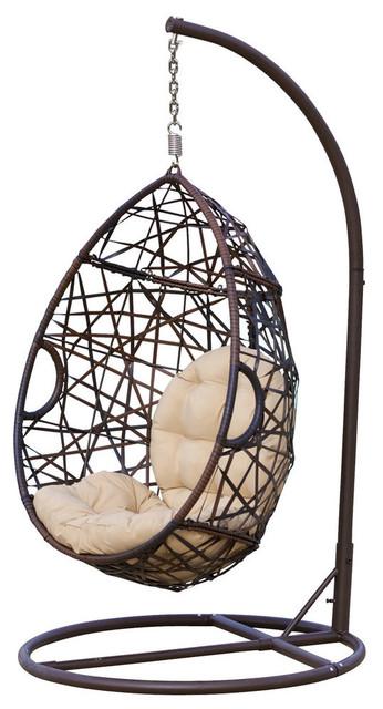Broadway Outdoor Wicker Tear Drop Hanging Chair