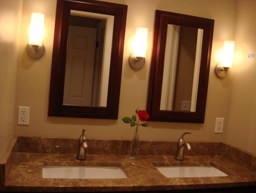 "Bathroom Light Fixtures For Double Vanity 60"" double vanity- what to do with mirrors and lighting"