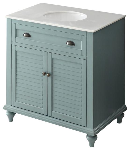 "34"" Cottage Look, Light Blue Glennville Bathroom Sink Vanity."