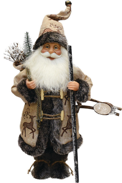 "16.5"" Country Rustic Santa Claus Carrying A Wooden Sled And Sack Of Gifts."
