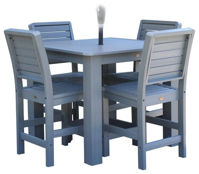 Weatherly 5 piece square counter dining set weathered for Outdoor dining sets for 12