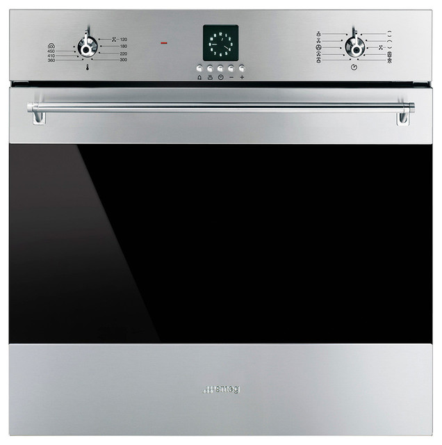 Smeg Stainless Steal Classic Series 24 In Electric Single Wall Convection Oven.