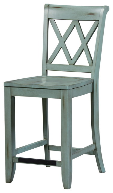 Standard Furniture Vintage X Back Counter Height Stool Set Of 2 Blue 11325
