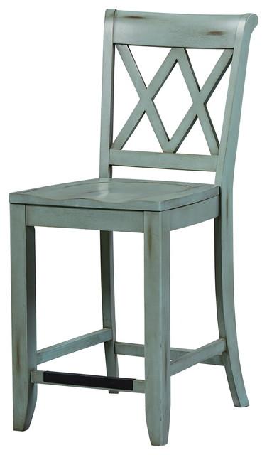 Miraculous Standard Furniture Vintage X Back Counter Height Stool Set Of 2 Blue 11325 Machost Co Dining Chair Design Ideas Machostcouk
