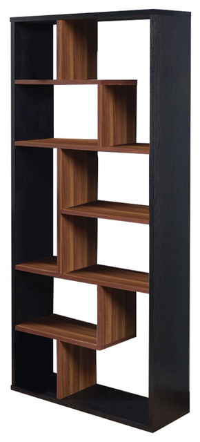 Wooden Rectangular Cube Bookcase, Natural Brown And Black.