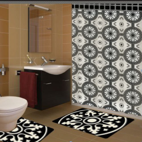 Mosaic shower curtain mediterranean shower curtains melbourne by quickfit blinds and - Bathroom accessories melbourne ...