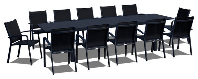 13 Piece Extendable Modern Patio Dining Set.