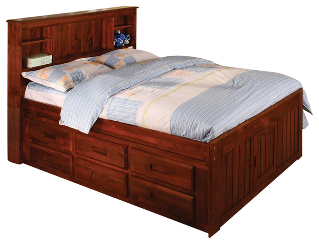Hamilton Full 6-Drawer Bookcase Captains Bed.