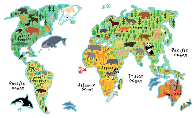 Kids World Map Wall Decals - Contemporary - Wall Decals - by WallPops