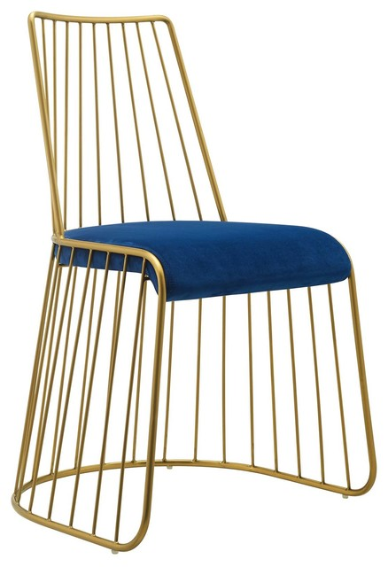 Incredible Rivulet Gold Stainless Metal Velvet Dining Chair Wl 03968 Mw Gold Navy Ibusinesslaw Wood Chair Design Ideas Ibusinesslaworg