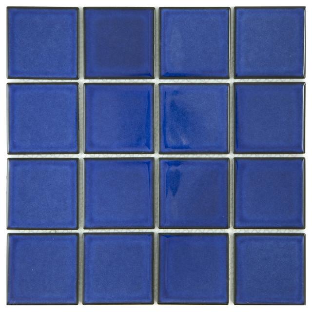 12 X12 Cobalt Blue Square Pool Mosaic Contemporary Tile