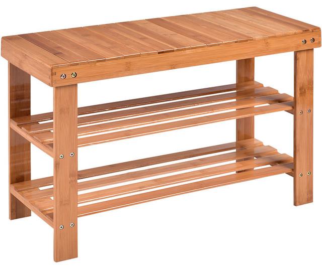 3 Tier Industrial Shoe Rack Bench Storage Shelf Organizer Entryway Home Furni US