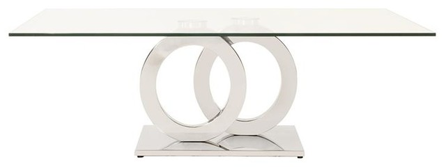 Stainless Steel Coffee Table With Circular Base.