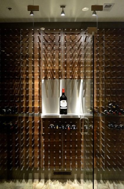 Modern Wine Cellar Orlando Glass Encased Wine Cellar in the Modern Kitchen contemporary-wine-cellar