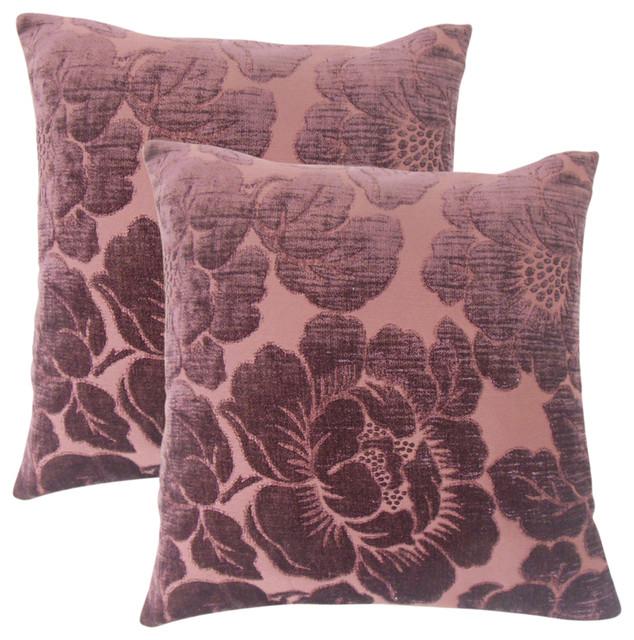 Cenobia Floral Throw Pillows, Set of 2, Violet