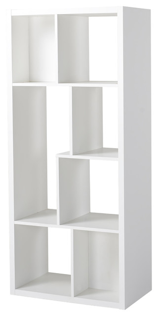 Homestar 7 Compartment Shelving Console, White.