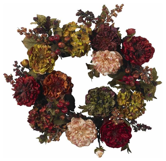 "Nearly Natural 22"" Autumn Hydrangea Peony Wreath."