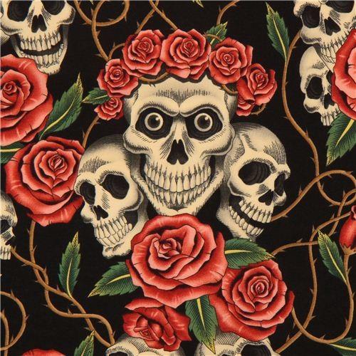 Kawaii Fabric Shop Black Alexander Henry Fabric Roses And