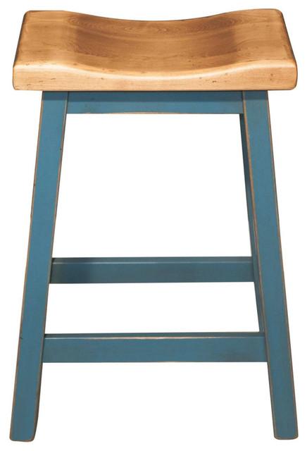 Fabulous Island Bar Stool 24 Brown Maple Teal Paint Base Machost Co Dining Chair Design Ideas Machostcouk