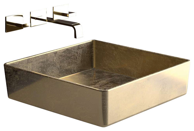 Four Lux Fourfo Square Vessel Sink In Gold Leaf 15 7 X