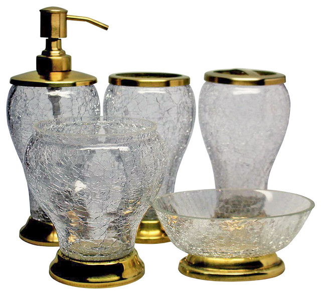 Natural Crackle 5 Piece Bathroom Accessory Set Transitional Bathroom Accessory Sets By Amber Sporting Goods Inc Amber Home Goods