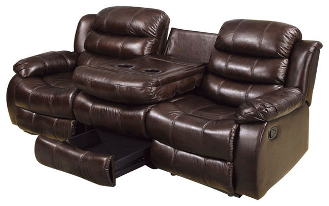 Rustic Brown Sofa With 2 Recliners And Console Table And