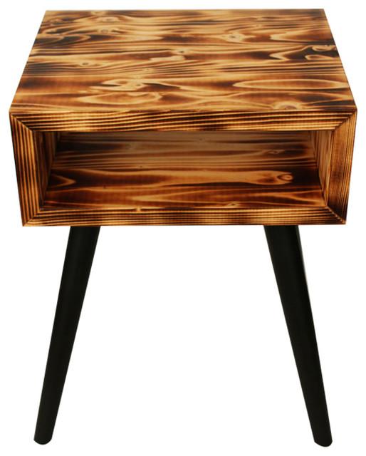 unique bedside table burning wood rustic nightstands. Black Bedroom Furniture Sets. Home Design Ideas