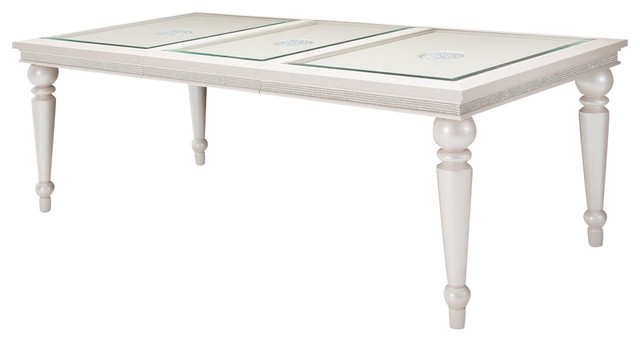 Aico Michael Amini Glimmering Heights Leg Table With Glass Insert
